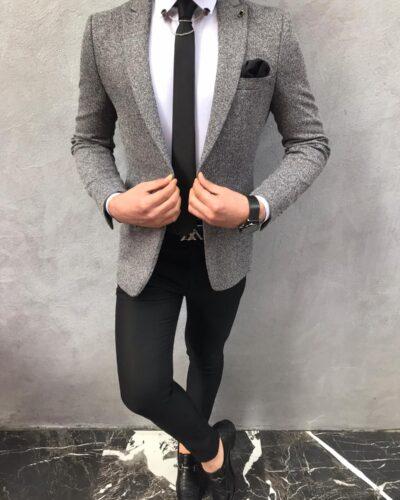 Gray Slim Fit Wool Blazer by BespokeDailyShop.com with Free Worldwide Shipping