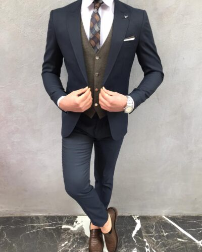 Navy Blue Slim Fit Suit Wool Blazer by BespokeDailyShop.com with Free Worldwide Shipping