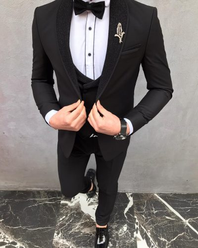 Black Slim Fit Shawl Lapel Tuxedo by BespokeDailyShop.com with Free Worldwide Shipping