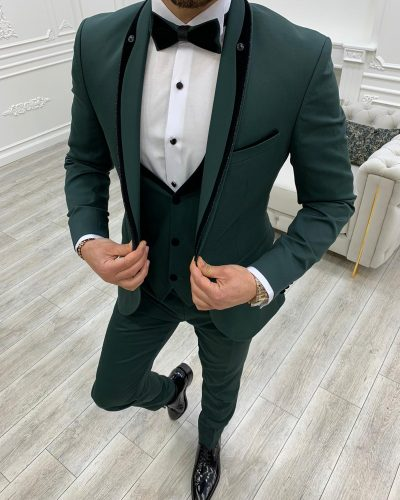 Green Slim Fit Shawl Lapel Tuxedo by BespokeDailyShop.com with Free Worldwide Shipping
