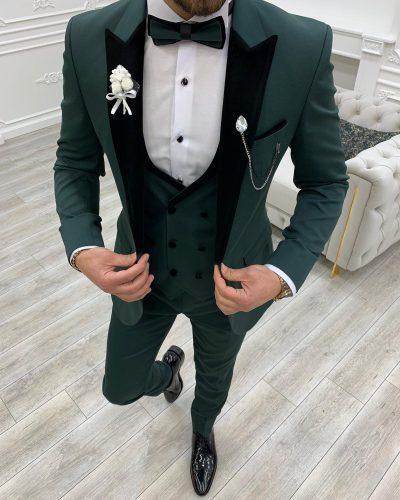Green Slim Fit Velvet Peak Lapel Tuxedo by BespokeDailyShop.com with Free Worldwide Shipping