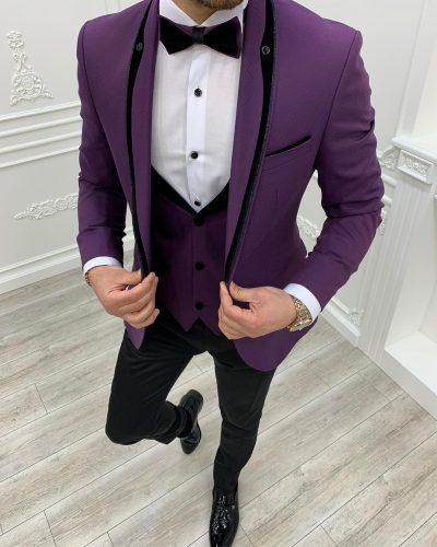 Purple Slim Fit Shawl Lapel Tuxedo by BespokeDailyShop.com with Free Worldwide Shipping