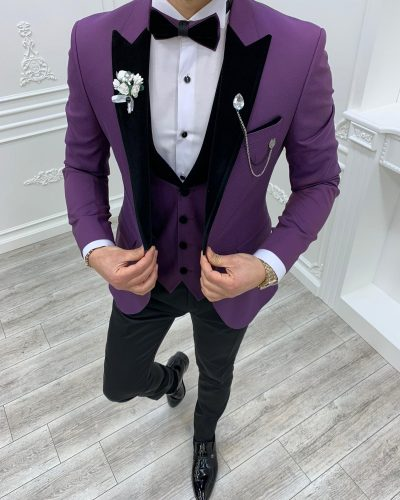 Purple Slim Fit Velvet Peak Lapel Tuxedo by BespokeDailyShop.com with Free Worldwide Shipping