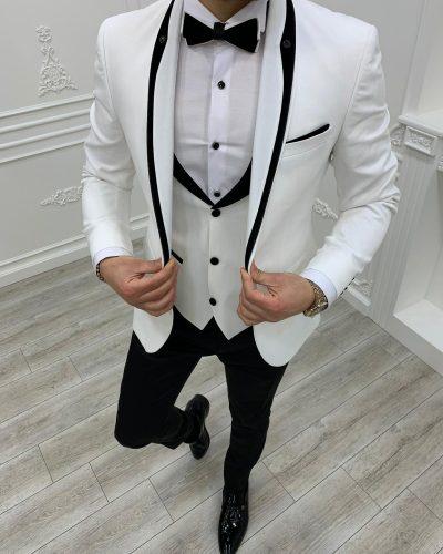 White Slim Fit Shawl Lapel Tuxedo by BespokeDailyShop.com with Free Worldwide Shipping