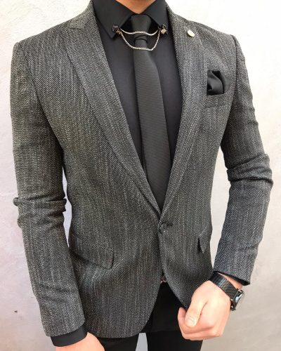 Black Slim Fit Cotton Blazer by BespokeDailyShop.com with Free Worldwide Shipping