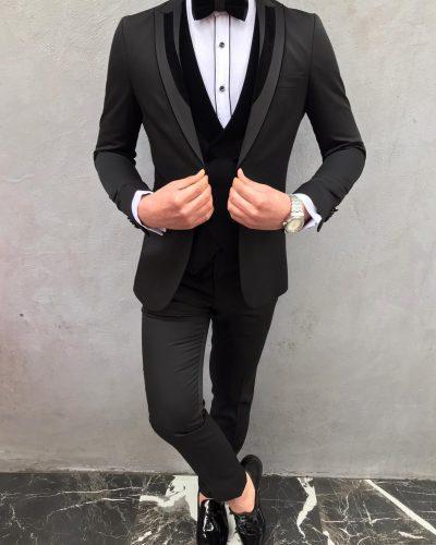 Black Slim Fit Peak Lapel Tuxedo by BespokeDailyShop.com with Free Worldwide Shipping