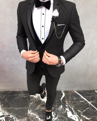 Black Slim Fit Velvet Notch Lapel Tuxedo by BespokeDailyShop.com with Free Worldwide Shipping