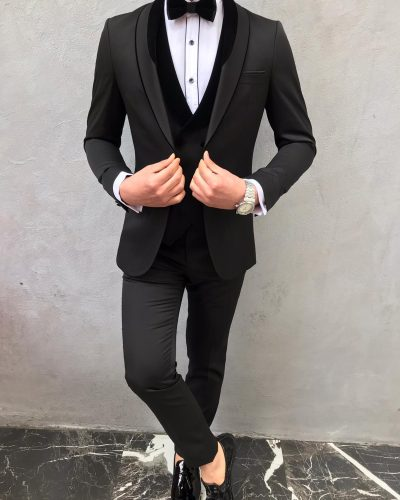 Black Slim Fit Velvet Shawl Lapel Tuxedo by BespokeDailyShop.com with Free Worldwide Shipping