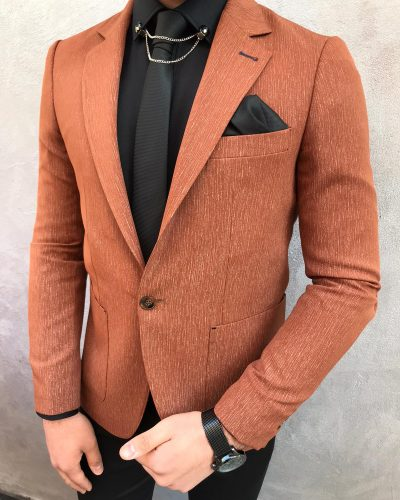 Brown Slim Fit Blazer by BespokeDailyShop.com with Free Worldwide Shipping
