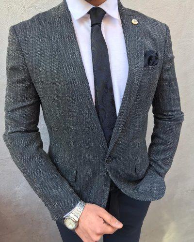 Dark Blue Slim Fit Cotton Blazer by BespokeDailyShop.com with Free Worldwide Shipping