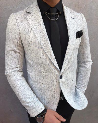 White Slim Fit Blazer by BespokeDailyShop.com with Free Worldwide Shipping