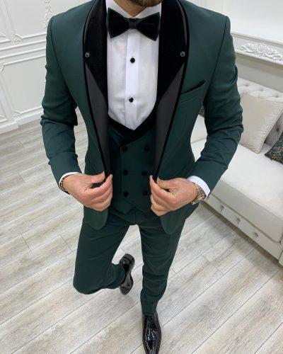 Dark Green Slim Fit Shawl Lapel Tuxedo by BespokeDailyShop.com with Free Worldwide Shipping