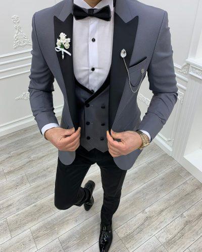 Gray Slim Fit Shawl Lapel Tuxedo by BespokeDailyShop.com with Free Worldwide Shipping