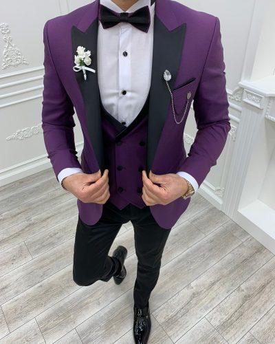 Purple Slim Fit Peak Lapel Tuxedo by BespokeDailyShop.com with Free Worldwide Shipping