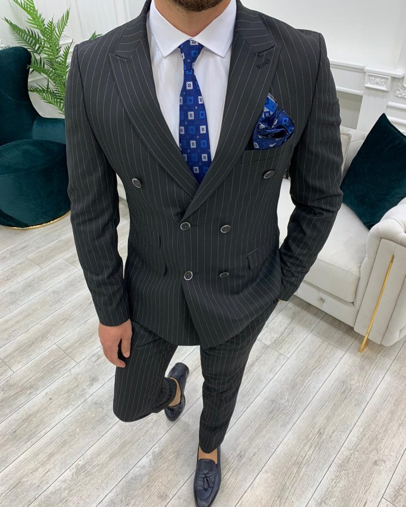 Black Slim Fit Double Breasted Pinstripe Suit by BespokeDailyShop.com with Free Worldwide Shipping