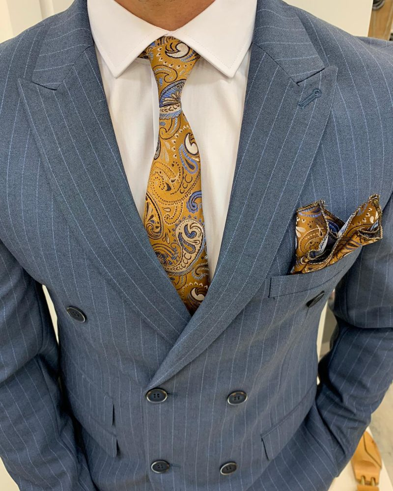 Blue Slim Fit Double Breasted Pinstripe Suit by BespokeDailyShop.com with Free Worldwide Shipping