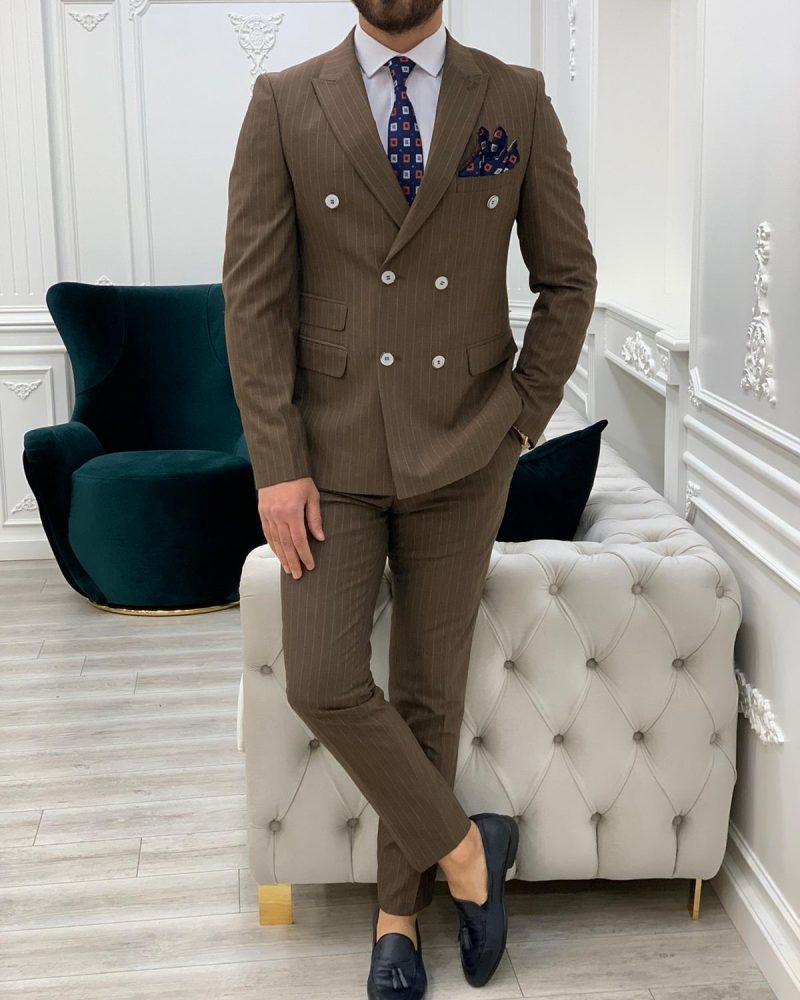 Brown Slim Fit Double Breasted Pinstripe Suit by BespokeDailyShop.com with Free Worldwide Shipping