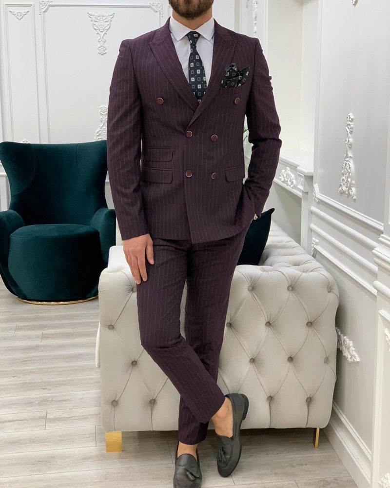 Burgundy Slim Fit Double Breasted Pinstripe Suit by BespokeDailyShop.com with Free Worldwide Shipping