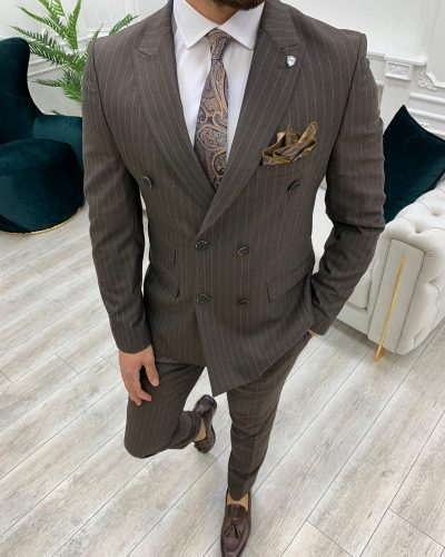 Coffee Slim Fit Double Breasted Pinstripe Suit by BespokeDailyShop.com with Free Worldwide Shipping