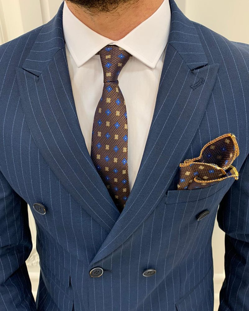 Dark Blue Slim Fit Double Breasted Pinstripe Suit by BespokeDailyShop.com with Free Worldwide Shipping