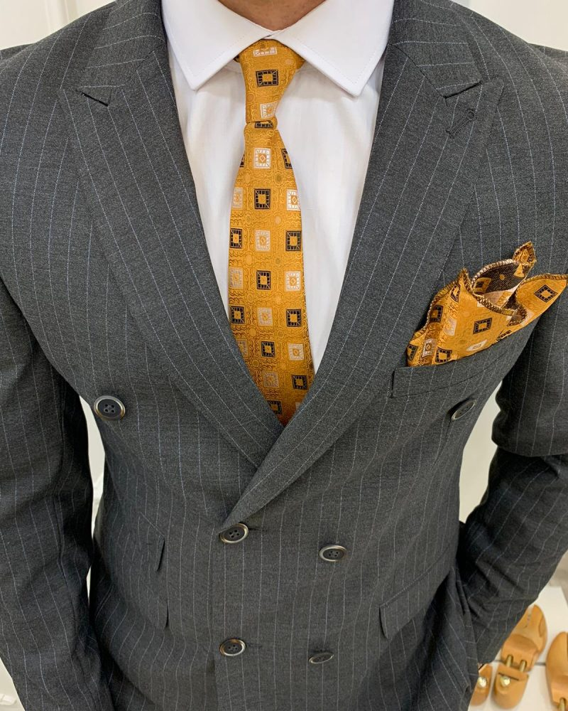 Gray Slim Fit Double Breasted Pinstripe Suit by BespokeDailyShop.com with Free Worldwide Shipping