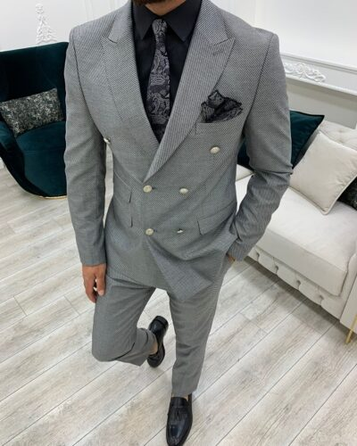 Light Gray Slim Fit Double Breasted Suit for Men by BespokeDailyShop.com with Free Worldwide Shipping