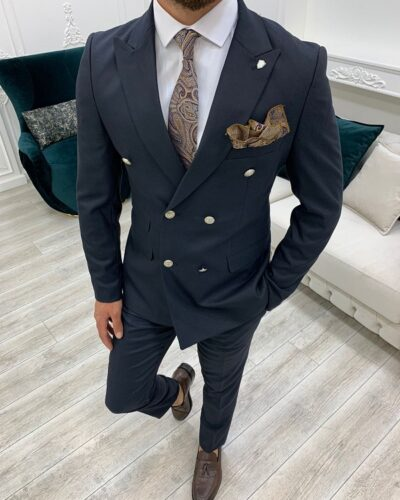 Navy Blue Slim Fit Double Breasted Suit for Men by BespokeDailyShop.com with Free Worldwide Shipping