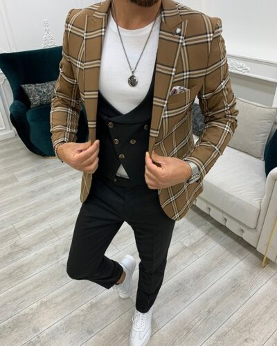 Brown Slim Fit Peak Lapel Plaid Suit for Men by BespokeDailyShop.com with Free Worldwide Shipping