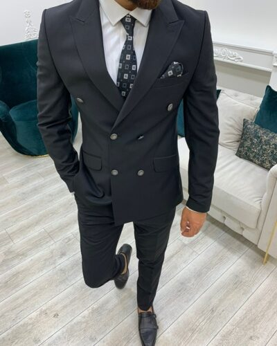 Black Slim Fit Peak Lapel Double Breasted Suit for Men by BespokeDailyShop.com with Free Worldwide Shipping
