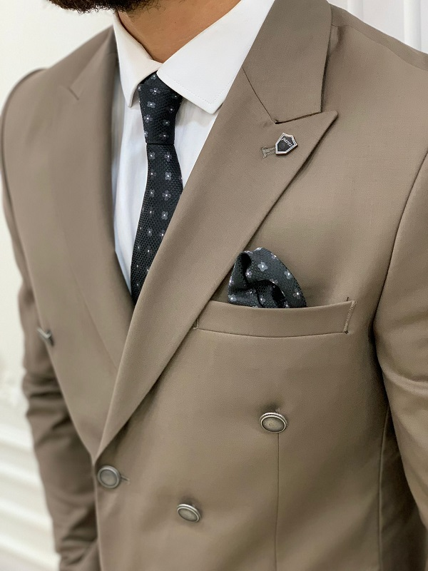 Brown Slim Fit Peak Lapel Double Breasted Suit for Men by BespokeDailyShop.com with Free Worldwide Shipping