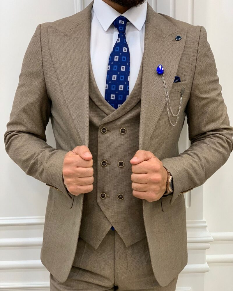 Brown Slim Fit Peak Lapel Suit for Men by BespokeDailyShop.com with Free Worldwide Shipping