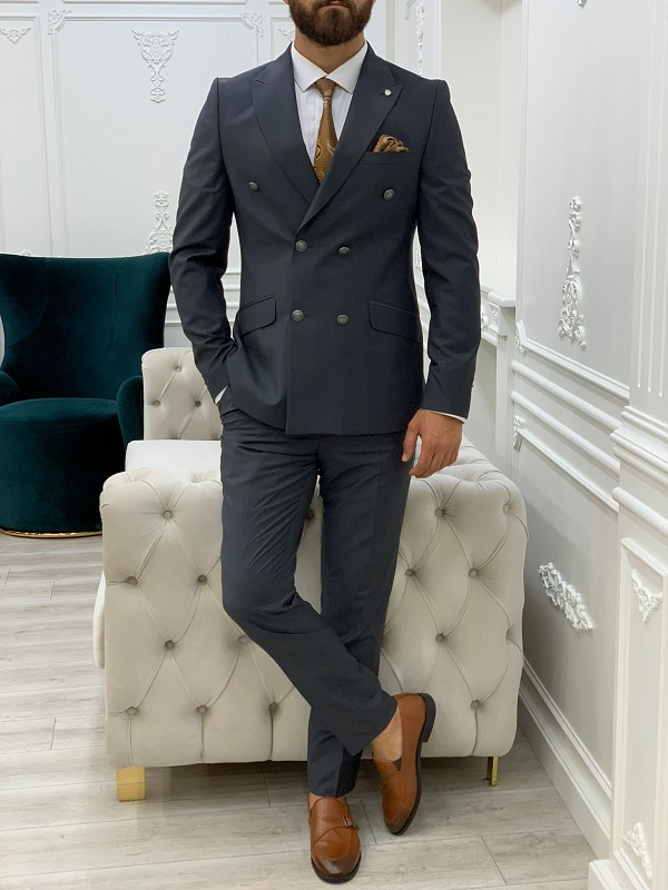 Gray Slim Fit Peak Lapel Double Breasted Suit for Men by BespokeDailyShop.com with Free Worldwide Shipping
