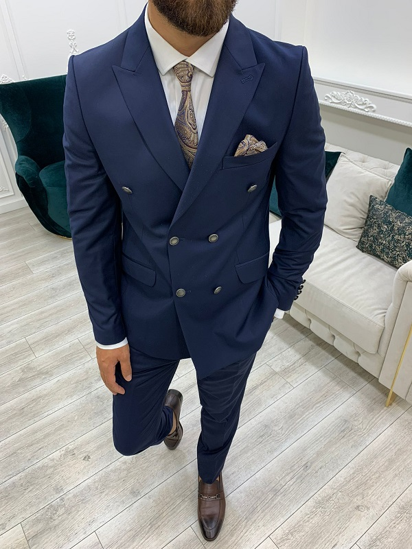 Navy Blue Slim Fit Peak Lapel Double Breasted Suit for Men by BespokeDailyShop.com with Free Worldwide Shipping
