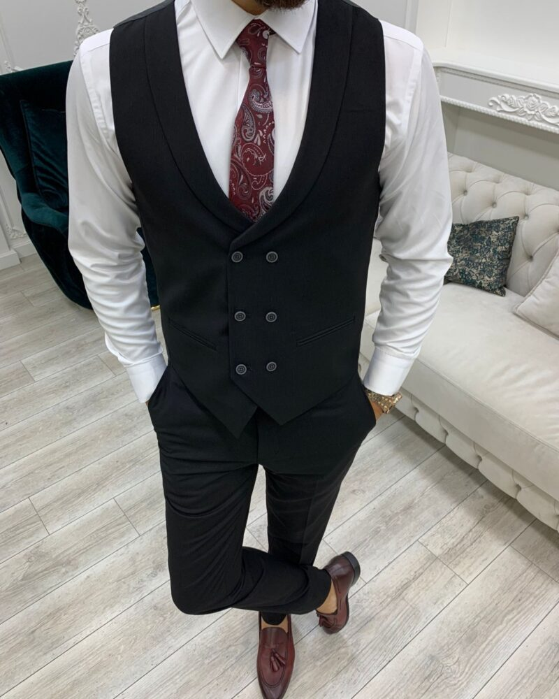 Black Slim Fit Peak Lapel Suit for Men by BespokeDailyShop.com with Free Worldwide Shipping