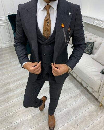 Dark Gray Slim Fit Peak Lapel Suit for Men by BespokeDailyShop.com with Free Worldwide Shipping