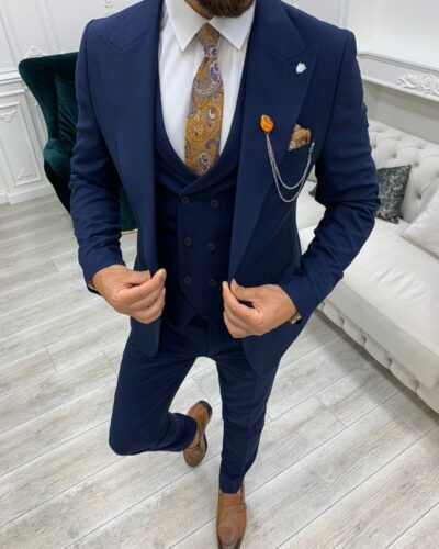 Navy Blue Slim Fit Peak Lapel Suit for Men by BespokeDailyShop.com with Free Worldwide Shipping