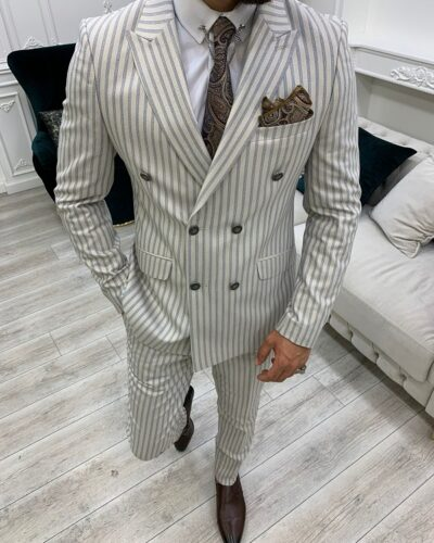 Beige Slim Fit Peak Lapel Double Breasted Striped Suit for Men by BespokeDailyShop.com with Free Worldwide Shipping