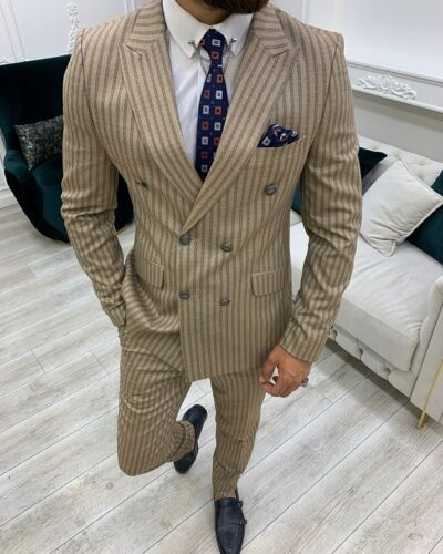 Brown Slim Fit Peak Lapel Double Breasted Striped Suit for Men by BespokeDailyShop.com with Free Worldwide Shipping