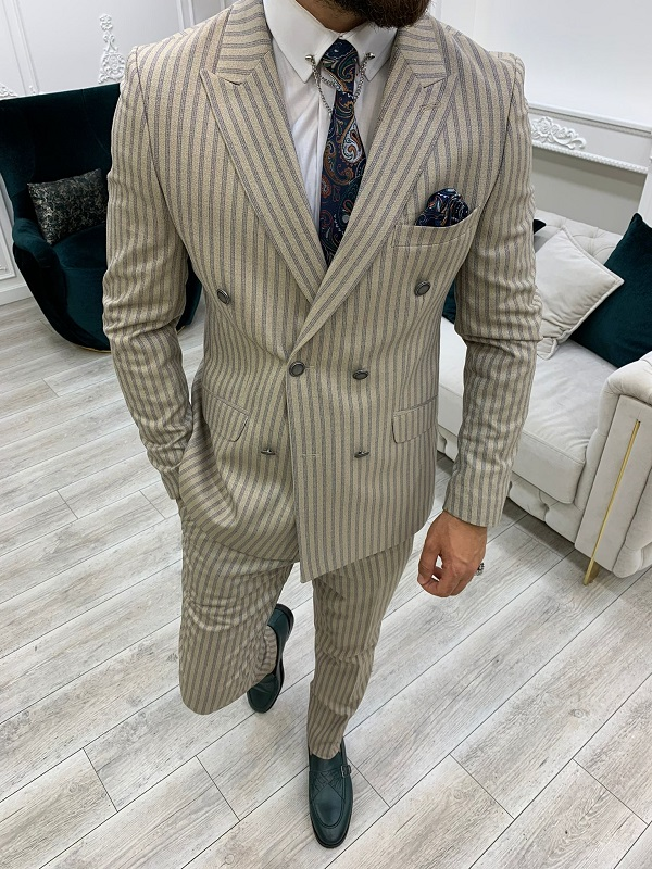 Cream Slim Fit Peak Lapel Double Breasted Striped Suit for Men by BespokeDailyShop.com with Free Worldwide Shipping