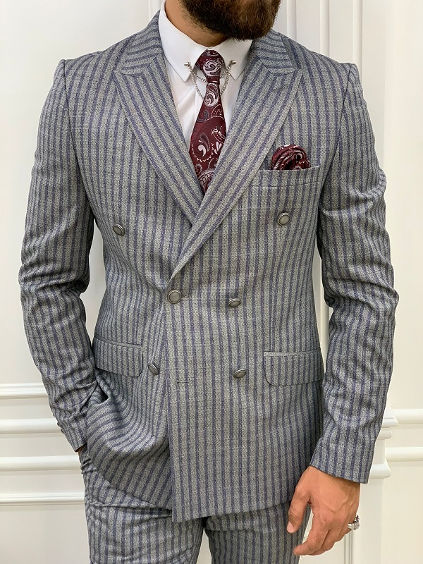 Navy Blue Slim Fit Peak Lapel Double Breasted Striped Suit for Men by BespokeDailyShop.com with Free Worldwide Shipping