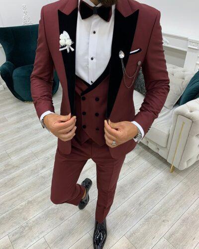 Burgundy Slim Fit Velvet Peak Lapel Tuxedo for Men by BespokeDailyShop.com with Free Worldwide Shipping