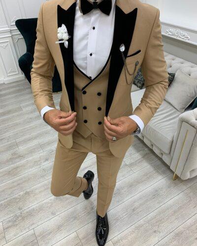 Golden Slim Fit Velvet Peak Lapel Tuxedo for Men by BespokeDailyShop.com with Free Worldwide Shipping