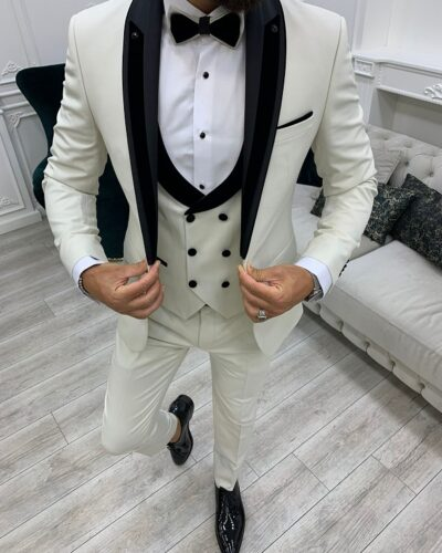 Off White Slim Fit Shawl Lapel Tuxedo for Men by BespokeDailyShop.com with Free Worldwide Shipping