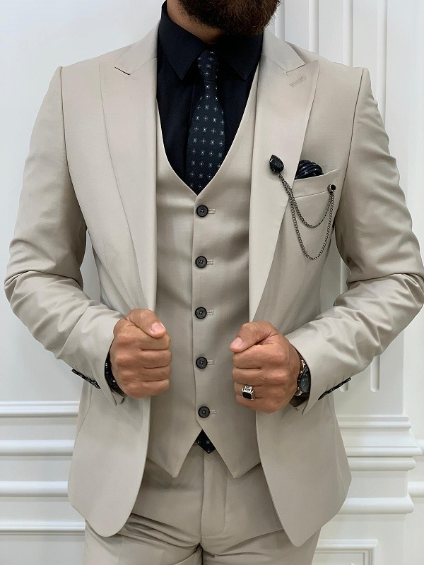 Beige Slim Fit Peak Lapel Suit for Men by BespokeDailyShop.com with Free Worldwide Shipping