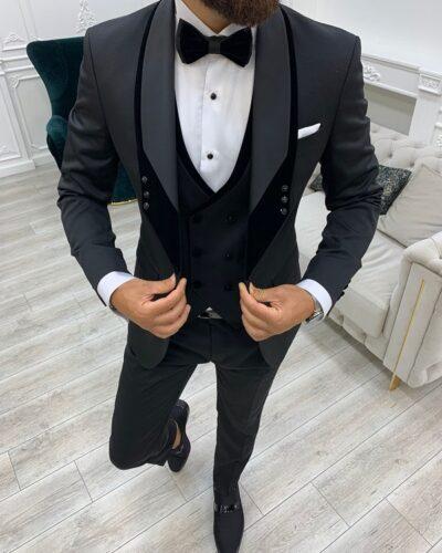 Black Slim Fit Velvet Shawl Button Lapel Tuxedo for Men by BespokeDailyShop.com with Free Worldwide Shipping