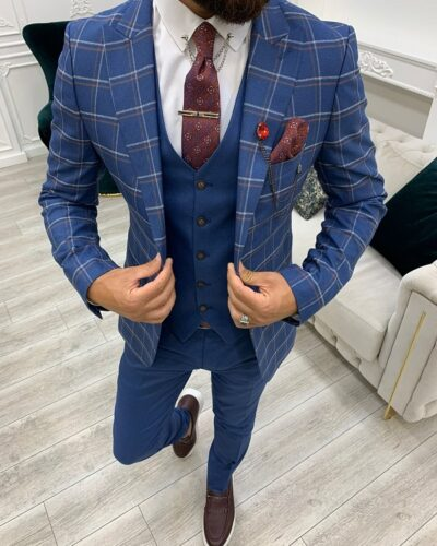 Blue Slim Fit Peak Lapel Plaid Suit for Men by BespokeDailyShop.com with Free Worldwide Shipping