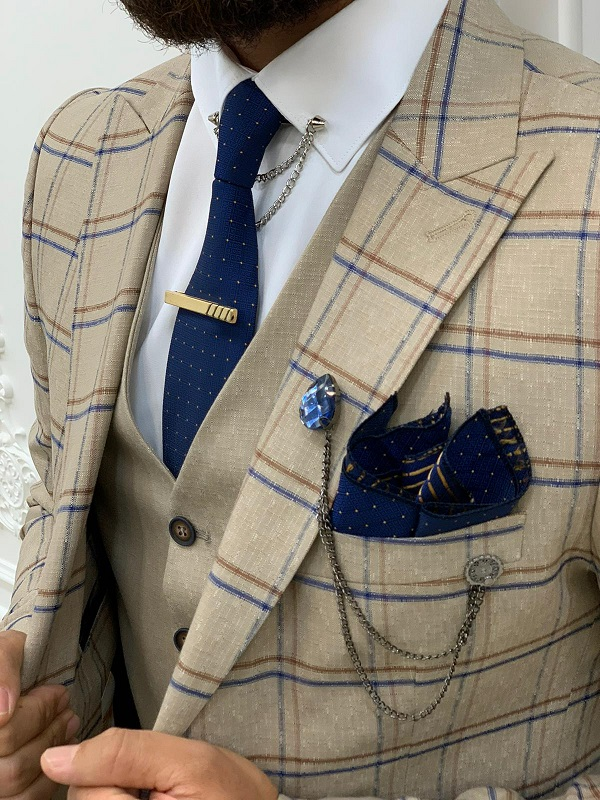Cream Slim Fit Peak Lapel Plaid Suit for Men by BespokeDailyShop.com with Free Worldwide Shipping