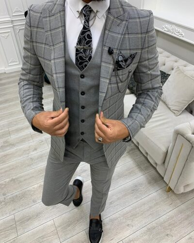 Dark Gray Slim Fit Peak Lapel Plaid Suit for Men by BespokeDailyShop.com with Free Worldwide Shipping