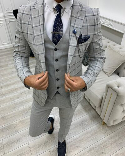 Gray Slim Fit Peak Lapel Plaid Suit for Men by BespokeDailyShop.com with Free Worldwide Shipping