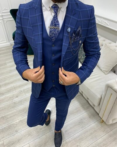 Indigo Slim Fit Peak Lapel Plaid Suit for Men by BespokeDailyShop.com with Free Worldwide Shipping